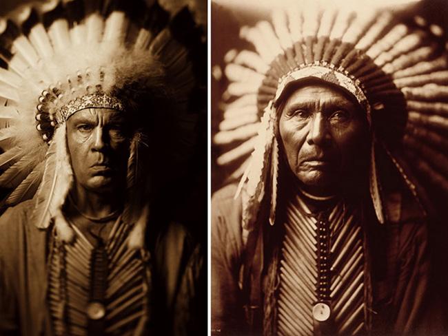 Джон Малкович в образе знаменитых фотографий Индеец