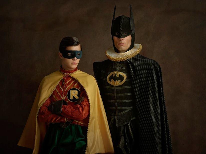 Супергерои в костюмах эпохи ренессанс Бэтмен и Робин