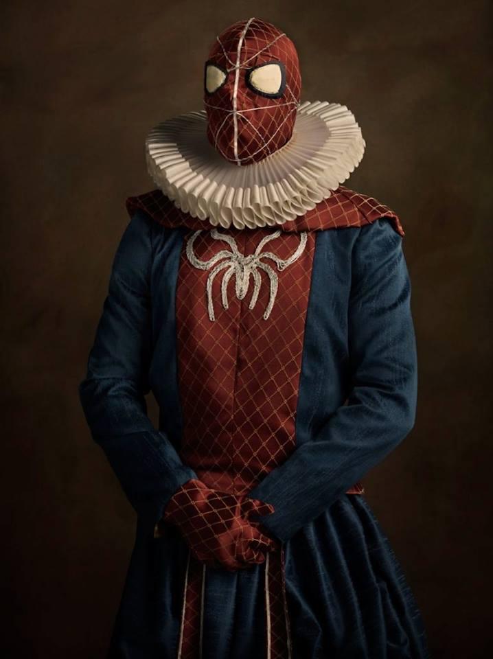 Супергерои в костюмах эпохи ренессанс Спайдермен