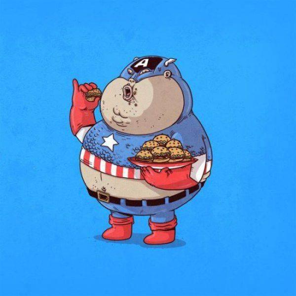 Толстые супергерои. Художник Алекс Солис. Капитан Америка.