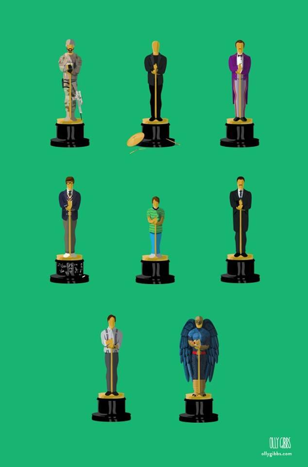 Номинанты на Оскар 2015 - статуэтки в виде фильмов-номинантов