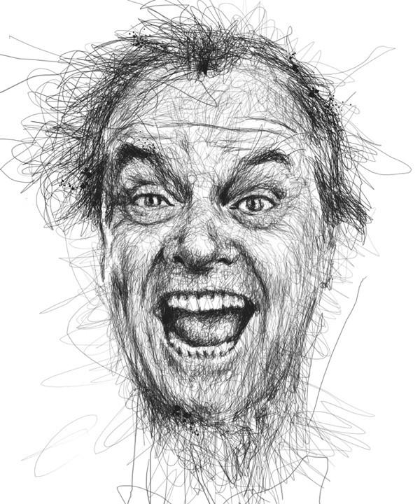 Faces Винс Лоу лица актеров, не отрывая ручку от бумаги Джек Николсон