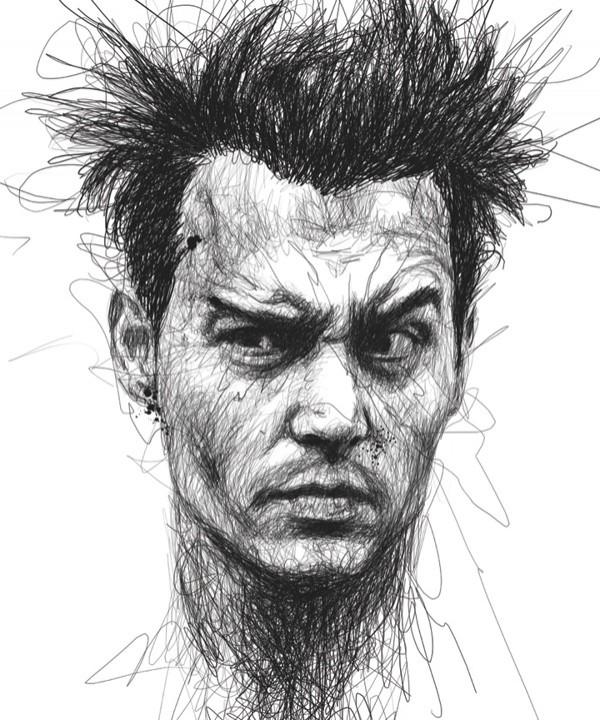 Faces Винс Лоу лица актеров, не отрывая ручку от бумаги Джонни Депп