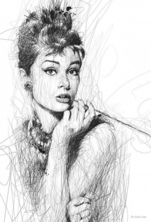 Faces Винс Лоу лица актеров, не отрывая ручку от бумаги Одри Хепбёрн