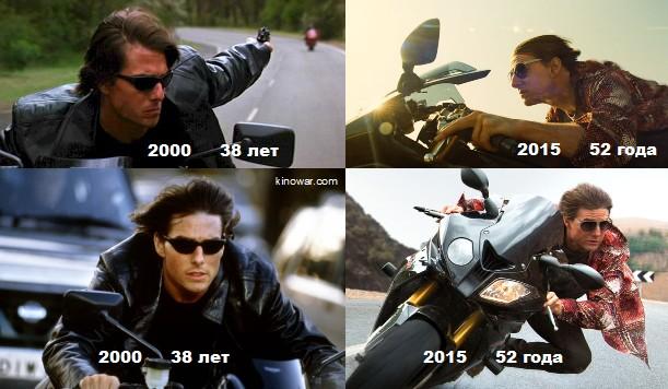 Эволюция Тома Круза в фильмах Миссия невыполнима инфографика мотоцикл