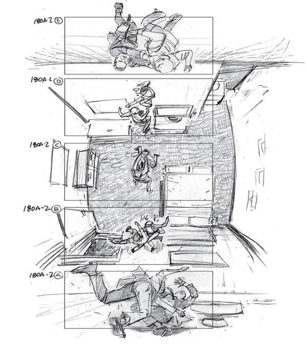 Как снимали Начало скетч рисунки сцен